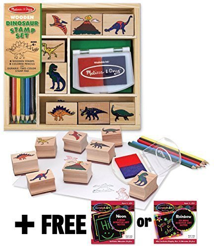 Melissa & Doug Dinosaur: Wooden Stamp Set + FREE Scratch Art Mini-Pad Bundle [16339]