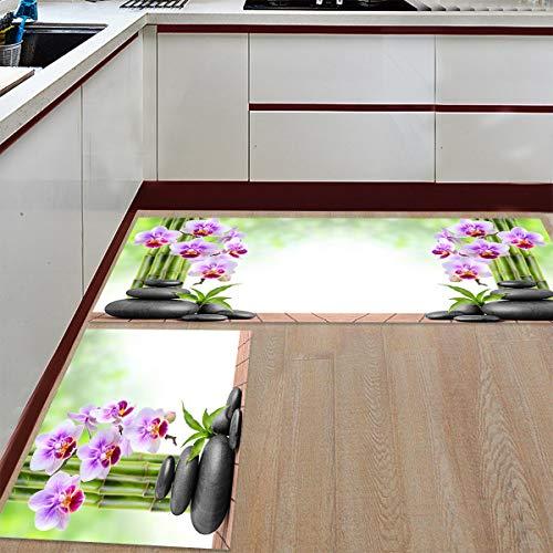 - Kitchen Rugs Sets 2 Piece Floor Mats Meditation Zen Cobblestone Bamboo and Flower Doormat Non-Slip Rubber Backing Area Rugs Washable Carpet Inside Door Mat Pad Sets (19.7
