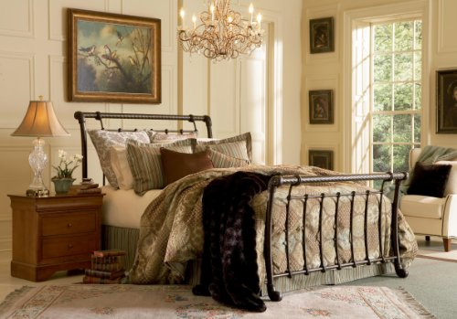 (Leggett & Platt Legion Complete Metal Bed and Steel Support Frame with Sleigh-Styled Panels and Twisted Rope Top Rails, Ancient Gold Finish,)