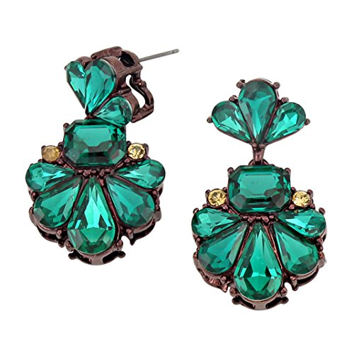 Rosemarie Collections Women's Statement Crystal Dangle Earrings (Green)