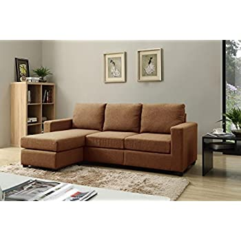 NHI Express Alexandra Convertible Sectional Sofa, Brown