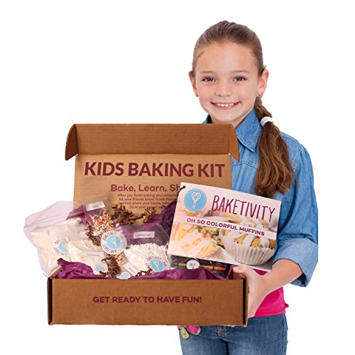 Baketivity Kids Baking Set, Meal Cooking Party Supply Kit for Teens, Real Fun Little Junior Chef Essential Kitchen Lessons, Includes Pre-Measured Ingredients, Funfetti Muffins