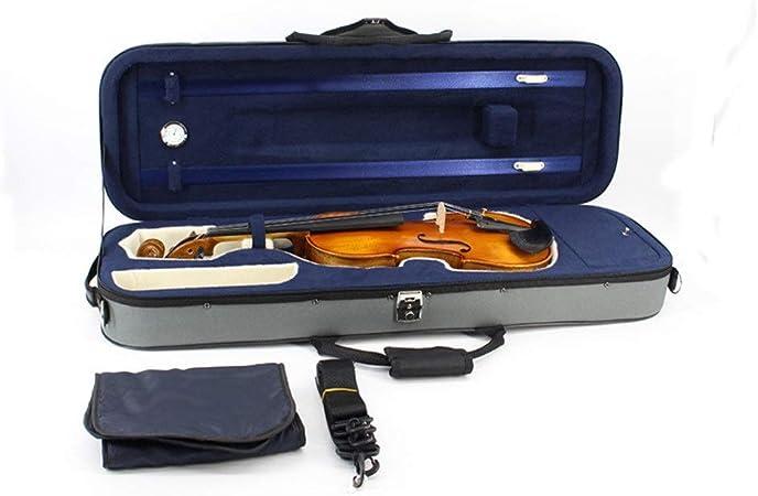 Estuche de violín de tamaño completo Estuche rígido duradero para violín con higrómetro Mango Cerradura con cremallera Soporte para arco Correas de transporte Estuche rígido para violín profesional Te: Amazon.es: Hogar