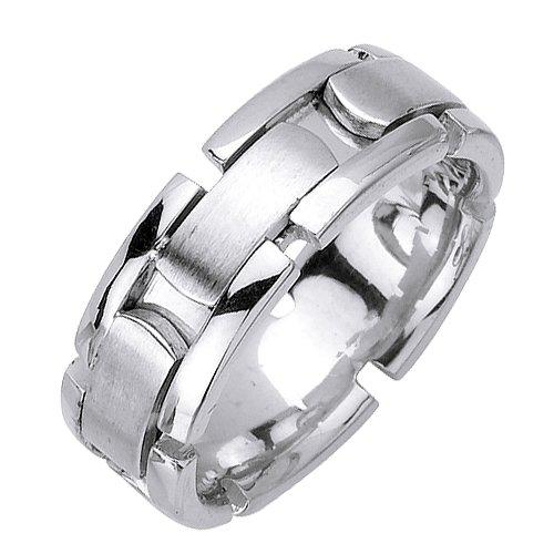 (8mm Solid 14K White Gold Wide Center Brick Pattern Design Wedding Ring Band f...)