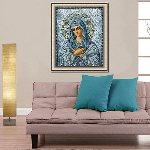 Faraway Christian Religious Jesus Picture DIY 5D Diamond Painting by Number Kit Round Mosaic Rhinestone Painting for Wall Decor 12X16inch