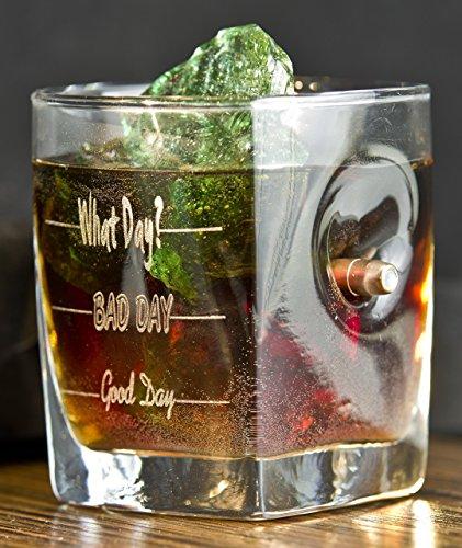 Whisky Glas mit realem Geschoß und Gravur - God Day - Bad Day - What ...