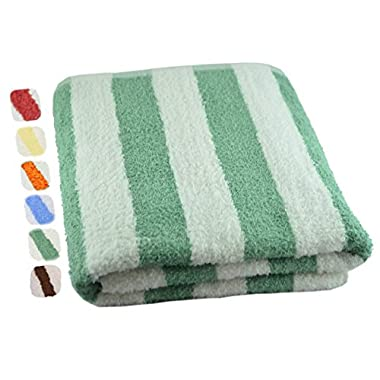 Utopia Towels Cotton Towel, Cabana Stripe- Green, 30 x 60 inch, 1-Pack