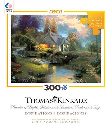Ceaco-300 Piece Oversized Thomas Kinkade Inspirations - Spring at Creekside Cottage Jigsaw puzzle