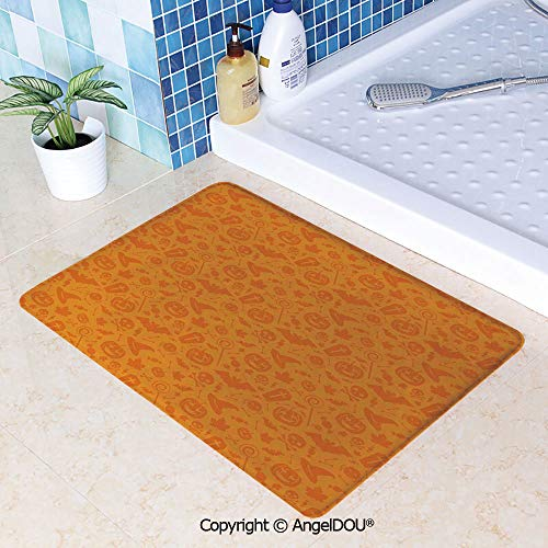 SCOXIXI Absorbent Super Cozy Rectangle Kitchen Bathroom Carpet Monochrome Design with Traditional Halloween Themed Various Objects Day Washable Porch Floor Mat Carpet.W15.7xL23.6(inch)]()