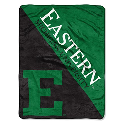 """The Northwest Company Officially Licensed NCAA Eastern Michigan University Halftone Micro Raschel Throw Blanket, 46"""" x 60"""", Green"""