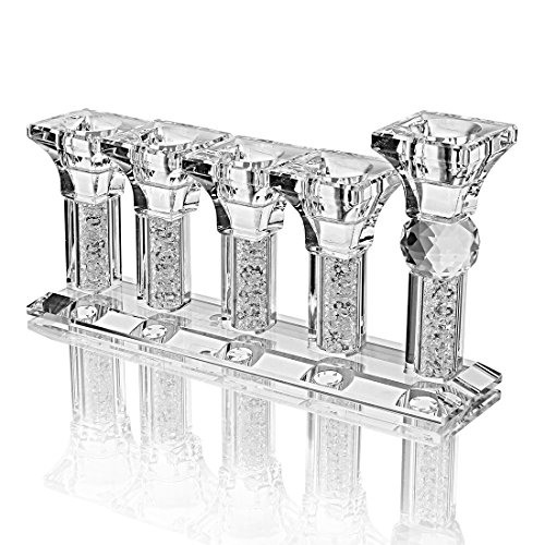 Qf Clear Square Fill Rhinestones Crystal Candle Holder 5 Head