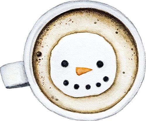Cute Adorable Warm Hot Chocolate With Snowman Marshmallow Cartoon Vinyl Sticker (8