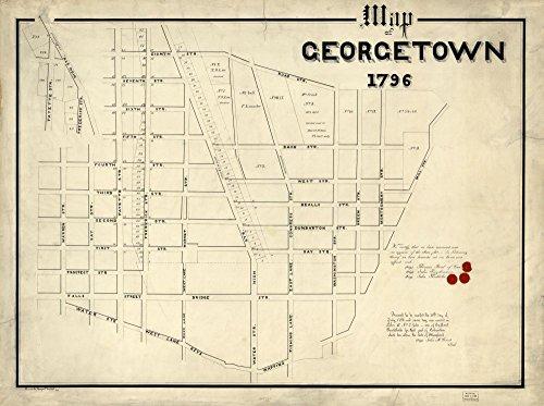 Vintage 1796 Map of Map of Georgetown, 1796 Georgetown, United States, Washington, Washington - Dc Georgetown Shops Washington