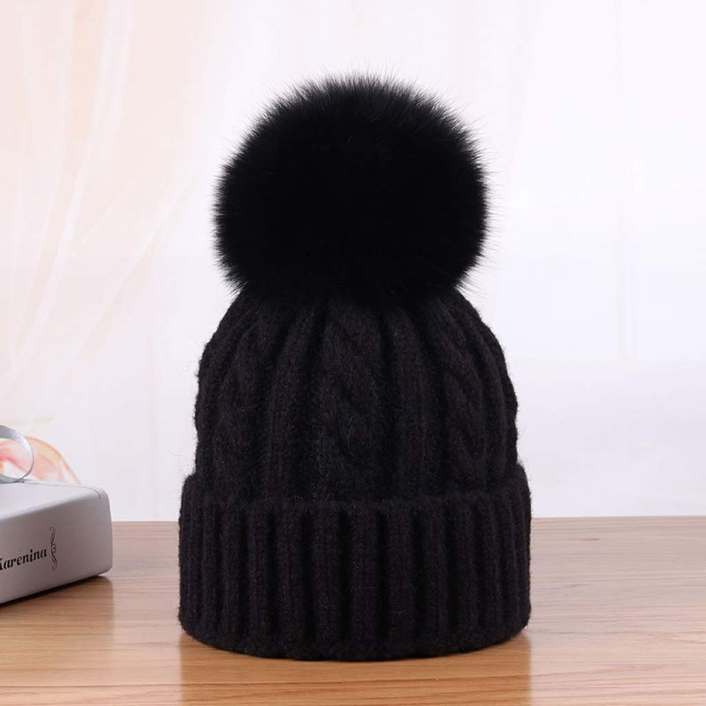 Female Models Autumn and Winter Hair Ball Hat Hemp Pattern Road Warm Parent Hat (Color : Beige, Size : Free) YQL