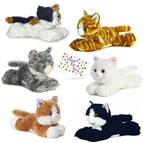 - Kitty Cat Plush, Set of 6 Mini Flopsies - Molly, Sugar Too, Maynard, Lily, Esmeralda, Sunshine Tabby with Drawstring Backpack and Gift Tag from J4U Gifts