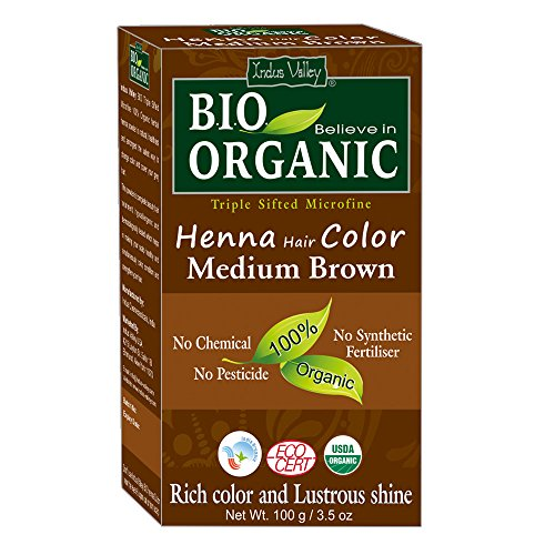 Indus Valley BIO Organic Chemical Free Natural Medium Brown Henna Hair Color For Grey Coverage Hair ()