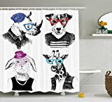 Ambesonne Animal Shower Curtain by, Modern Woman Bodied Rabbit with Pearls Dog Giraffe Bison with Grunge Graphic, Fabric Bathroom Decor Set with Hooks, 70 Inches, Black Grey White