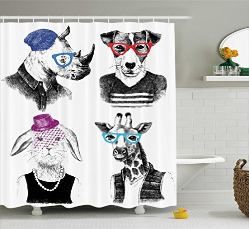 Ambesonne Animal Shower Curtain by, Modern Woman Bodied Rabbit with Pearls Dog Giraffe Bison with Grunge Graphic, Fabric Bathroom Decor Set with Hooks, 70 Inches, Black Grey White by Ambesonne