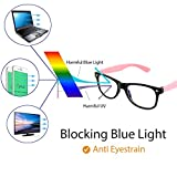 Cyxus Blue Light Blocking Glasses for Kids and Teens, Anti Eye Strain UV Computer Eyewear Clear Lens Pink Frame