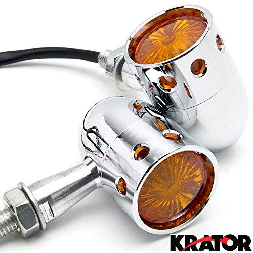 Krator 2pcs Chrome Motorcycle Turn Signals Blinker Lights For Kawasaki VN Vulcan Classic Drifter 800