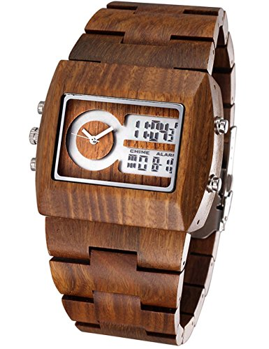 Eco-Friendly And Comfortable Men Analog-Digital Dual-Time Watch With 100% Natural Sandalwood