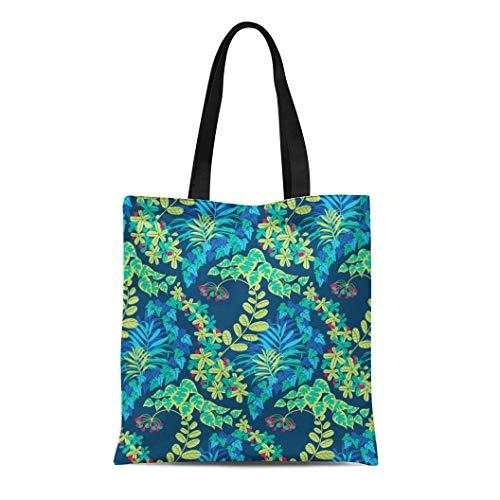 Semtomn Cotton Canvas Tote Bag Abstract Colorful Green Blue Navy Jungle Foliage Pattern Aquamarine Reusable Shoulder Grocery Shopping Bags Handbag ()