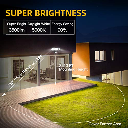 Amico 3 Head LED Security Lights Motion Sensor Outdoor Adjustable 40W, 3500LM, 5000K, IP65 Waterproof, ETL Certified, Exterior Flood Light for Garage, Yard(Black)