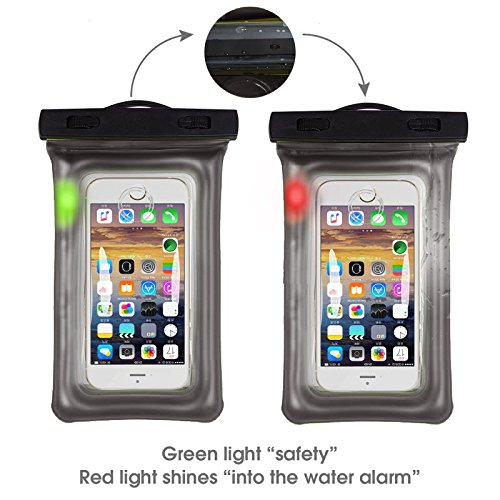 Sunbox Floating Waterproof Case with LED Flashing Warning Light and Neck Strap, Cellphone Outdoor Sports Dry Bag Pouch for iPhone X 8 7 Plus SE 5S, Note8,Samsung Galaxy S8 S7 edge up to 6 Inch (BLACK)
