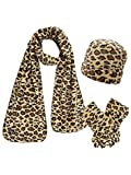 Black & Tan Cheetah Print Fleece Hat Scarf & Matching Glove Set