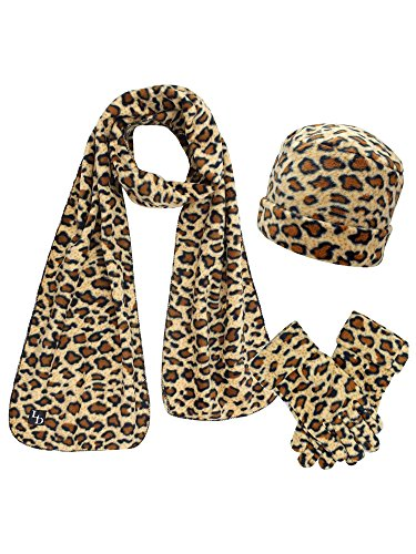 (Black & Tan Cheetah Print Fleece Hat Scarf & Matching Glove)