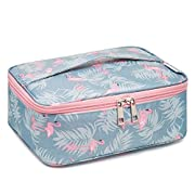 Travel Makeup Bag Large Cosmetic Bag Make up Case Organizer for Women and Girls (A Flamingo)