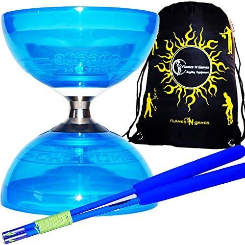 PRO Diabolo Triple Roulement A Bille Bleu Diabolo//Bleu Baguettes Cyclone QUARTZ II Diabolo Set Diabolos Sac de Transport. Des Diablo Baguettes en FIBER et Ficelle by Juggle Dream
