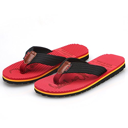 02 Men's Comfortable Beach Outdoor Handmade Sandals Slipper Thong CIOR and Fashion Flop Flip Red Classical Indoor 1qw8nAF6