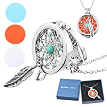 MJARTORIA Filigree Feather Charm Aromatherapy Essential Oil Diffuser Locket Pendant Necklace