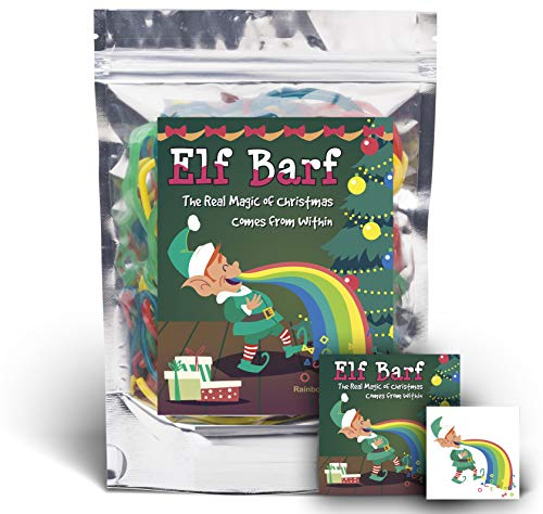 Elf Barf - Rainbow Lace Licorice - Funny Unique Christmas Stocking Stuffer Gag Gift for Teens, Girls, Boys and Kids (Licorice Gift)