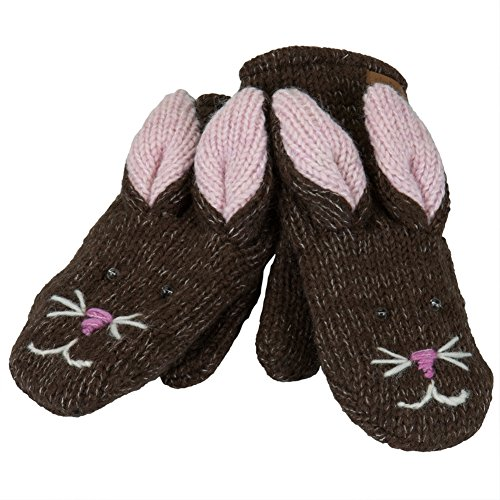 - Knitwits Delux Beatrice the Bunny Adult Brown Wool Knit Mittens