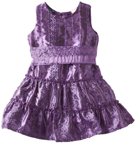 So La Vita Baby Girls' Sequined Textured Taffeta Dress