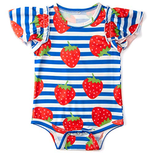 Goodstoworld Baby Ruffle Girl Romper Infant Funny Jumpsuit Strawberry Bodysuit