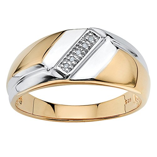 Men's White Diamond Accent 18k Gold over .925 Sterling Silver Two-Tone Diagonal Ring Size 10