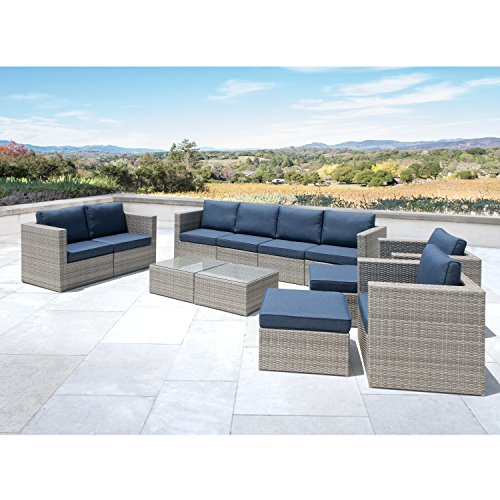 Supernova Outdoor Furniture 12 Pieces Garden Patio Sofa set | Wicker Rattan Sectional with Cushions | No Assembly Required | Aluminum Frame |