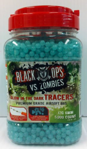 Black Ops VS. Zombies Airsoft Glow-in-the-Dark Tracers Premium Grade .12g 6mm Ammo, 5,000 Ct (Glow In The Dark Airsoft Bbs)
