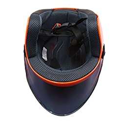 uxcell Orange ABS Plastic Motorcycle Safety Half Helmet w Black Full Face Shield Visor
