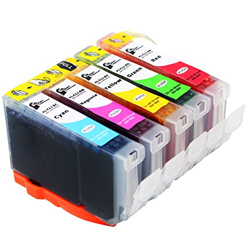 Replacement Canon PIXMA Pro9000 Printer Red, Green, Cyan, Magenta & Yellow Ink Cartridge - Compatible Canon CLI-8R, CLI-8G, CLI-8C, CLI-8M & CLI-8Y Ink Tanks