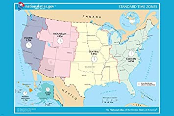 Amazoncom USA OFICIAL Standard TIME ZONE Map Poster X - Canada and us time zone map
