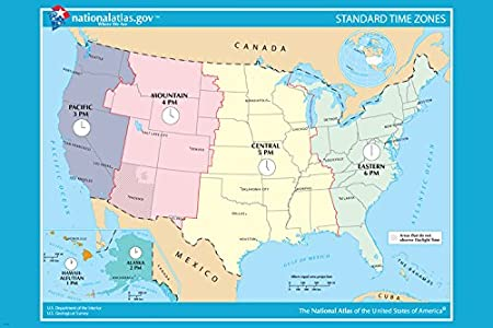 USA OFICIAL standard TIME ZONE map poster 24X36 educational user ...
