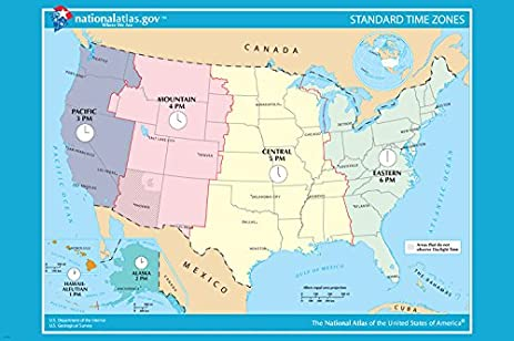 Amazoncom USA OFICIAL Standard TIME ZONE Map Poster X - Time zone map usa