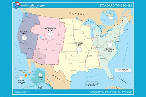 USA OFICIAL standard TIME ZONE map poster 24X36 educational user-friendly (United States Area Codes And Time Zones)