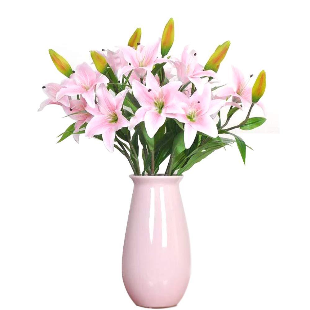 Fiori Artificiali Giglio,GKONGU 4 Pezzi Realista Giglio Mazzi di fiori dall' Aspetto Naturale con 3 Gemme di fiori,Ideale per la casa, il giardino, la decorazione di nozze-Bianca DF