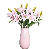 Fiori artificiali giglio, giglio Gkongu confezione da 4mazzi realista mazzi di fiori dall' aspetto naturale con 3boccioli di fiori, ideale per stanza party festival Celebration vaso decorazione