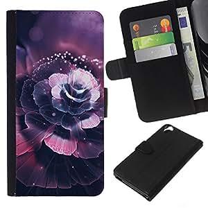 KLONGSHOP // Tirón de la caja Cartera de cuero con ranuras para tarjetas - Hermosa flor de cerezo - HTC Desire 820 //